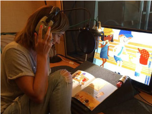 Jenny Frost recording the animated George the sun safe superstar